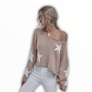 💋Over Sized Cropped Star Sweater